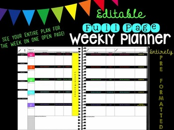 Editable Weekly Planner for Curriculim Mapping
