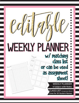 Editable Weekly Planner Class List - Checklist, Assessment, Grade book, Planning