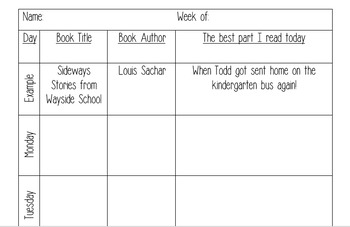 Editable Weekly Read to Self Accountability Sheet
