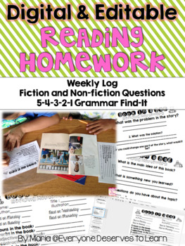 Digital and Editable Weekly Reading Homework