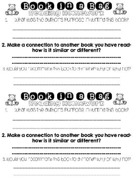 Digital and Editable Weekly Reading Homework