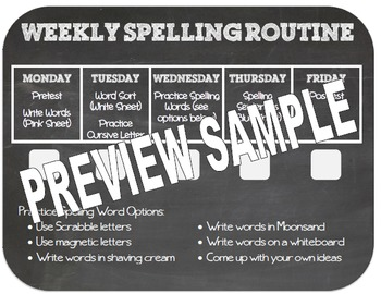 Editable Weekly Spelling Routine Checklist
