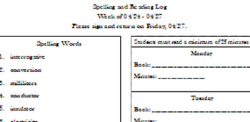 Editable Weekly Spelling and Reading Log