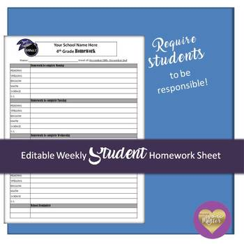Editable Weekly Student Homework Sheet
