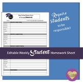 Editable Weekly Student Homework Sheet