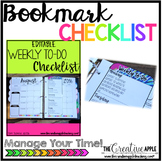Editable Weekly To-Do Bookmark Checklist