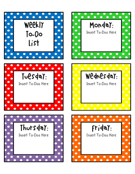 Editable Weekly To-Do List