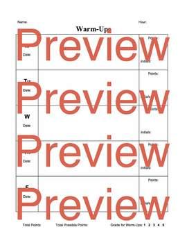 Editable Weekly Warm Up Sheet
