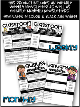 Editable Weekly and Monthly Newsletter Templates