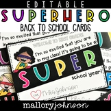 Editable Back to School Cards from Teachers to Students Su