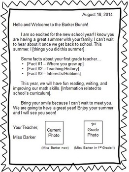 Editable Welcome Back to School Letter - Primary Grades