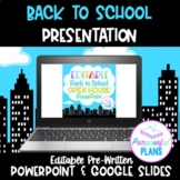 Editable Superhero City Back to School/Open House/Meet The