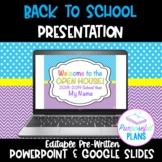 Editable Welcome Back to School Night/Open House/Meet The Teacher PowerPoint