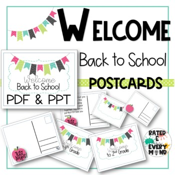 Editable Welcome Back to School Post Cards to Students All Grades   PDF/PPT