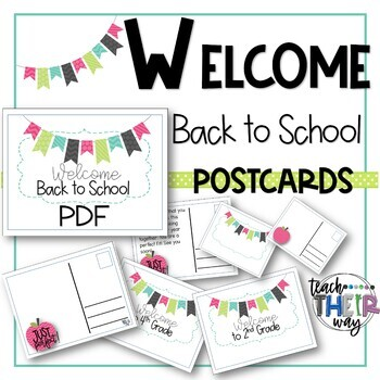 Editable Welcome Back to School Postcards to Students All Grades | PDF