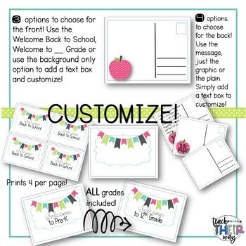 Editable Welcome Back to School Postcards to Students All Grades   PDF