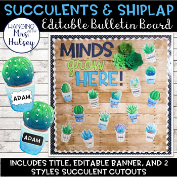 Editable Welcome Bulletin Board (Succulent and Shiplap)