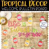 Editable Welcome Bulletin Board (Tropical and Shiplap)