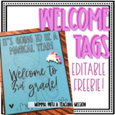 Editable Welcome Cards/Tags K-5