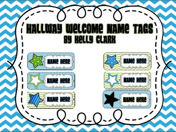Editable Welcome Hallway Name Tags- Blue, Green, and Black- Upper Elementary
