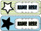 Editable Welcome Hallway Name Tags- Blue, Green, and Black