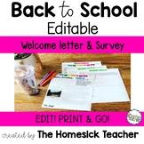 Welcome Letter Meet the Teacher Template Editable