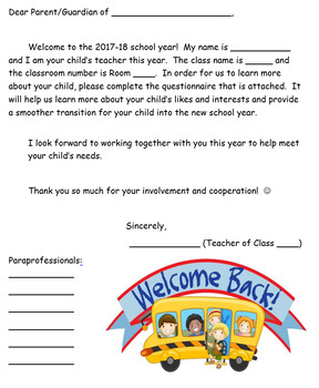 Editable Welcome Letter (For Parents/Families!) by Special Teacher