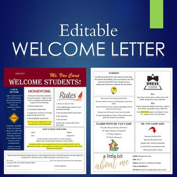 Editable Welcome Letter/Syllabus For Parents and Students