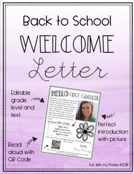 Editable Welcome/ Meet the Teacher Letter- Kindergarten