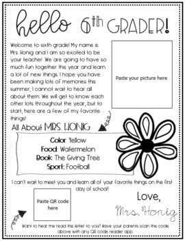 Editable Welcome/ Meet the Teacher Letter- Sixth Grade