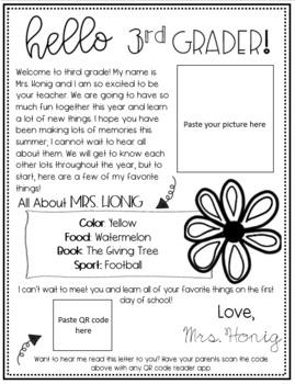 Editable Welcome/ Meet the Teacher Letter- Third Grade