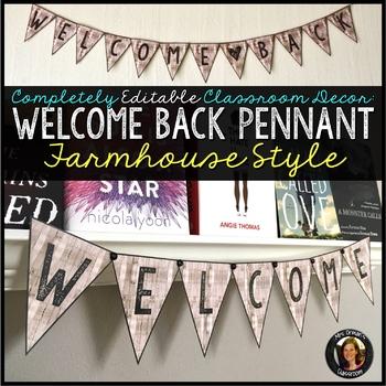 Editable Welcome Pennant Farmhouse Style