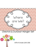 {Editable} Where Are We? Chevron & Owl Door Hanger Set (2
