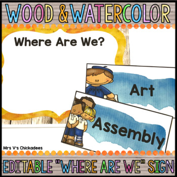 """Editable """"Where Are We?"""" Class Door Sign: Wood & Watercolor Decor"""