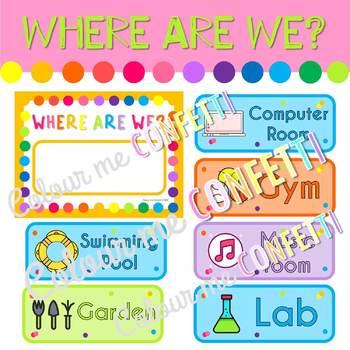Editable Where are we? - Colour me Confetti