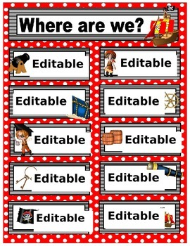 Editable Where are we sign with a pirate theme