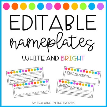 Editable White and Bright Nameplates