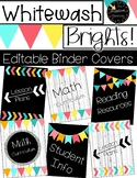 Editable Whitewash Brights Rainbow Binder Covers