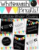 Editable Binder Covers - Whitewash Brights Rainbow Farmhouse