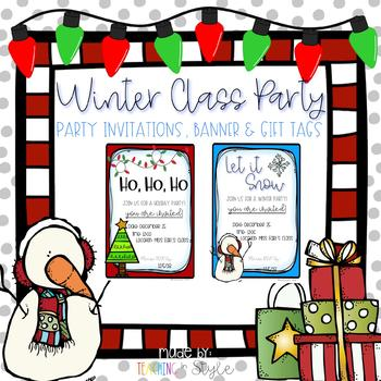 Editable Winter Class Party Set