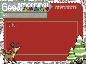 Editable Winter Class Slides with Timers! {Christmas Themed}