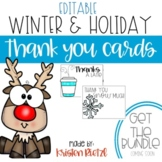 Editable Winter Holiday Thank you cards