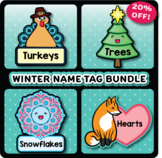 Editable Winter Name Tags, Thanksgiving, Christmas, and Valentine's Cubby Tags