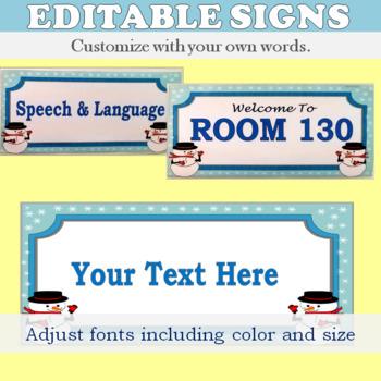 Editable Winter Themed Door Sign