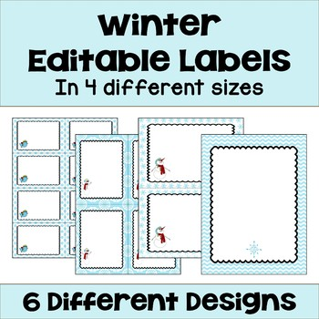 Editable Winter and Snowman Labels (4 sizes & 6 designs)