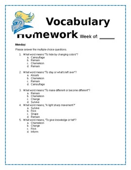 Editable: Wit and Wisdom Module 1 L.15-20 Vocabulary Homework