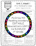 EDITABLE Wonders Newsletters 1st Grade Units 1-6 BUNDLED