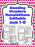 Editable Wonders Newsletters Unit 1-6 Bundle 3rd grade
