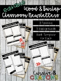 Editable Wood & Burlap Classroom Newsletters