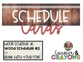 Editable Wood Schedule Cards